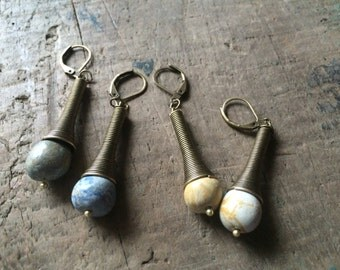 Brass & Handmade Clay Pastel Bead Earrings