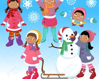 Playtime in the Snow African-american Girls Clipart Set