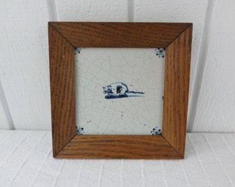 17th-18th Century Delft Blue Ceramic Tile, Animal Design, Opossum, Oak Framed, Blue & White Ceramic Antique #628