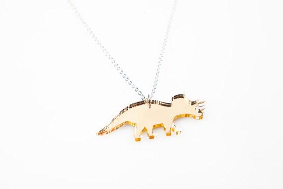 Medium Triceratops Dinosaur Necklace. Triceratops Necklace. Dinosaur Pendant. Three Horn. Land Before Time. Jurassic Park. Laser Cut Acrylic