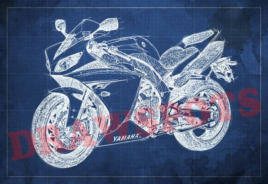 Yamaha r1 blueprint art print 812 in to 6041 in motorcycle art yamaha r1 blueprint art print 8x12 in to 60x41 in motorcycle art print malvernweather Gallery