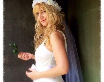 White flower bridal wedding headband crown tiara with veil