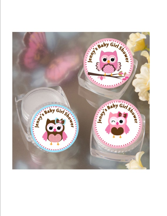 lip balm baby shower favor personalized pink owl baby girl shower