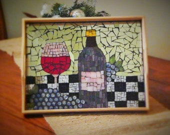 SOLD Mosaic Serving Tray With Wine and Grapes