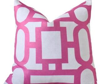 Reserved for beth - Designer Pink Pillow Cover - Fuchsia White Geometric Geometric Pillow - Throw Pillow -Modern Pink - Motif Pillows
