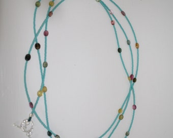 Delicate semi-precious multi colored AAA tourmaline and turquoise colored glass necklace