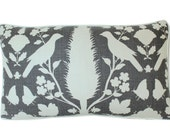 Charcoal Grey Chenonceau Bird Pillow Cover with Ivory Piping