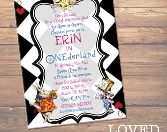 CUSTOM DIGITAL FILE - Alice in Wonderland 1st Birthday Party Invitation - Tea Party