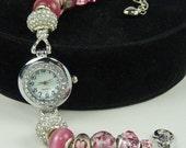 ROMANTIC PINK BLUSH:  European Style Large Hole Bead Watch Bracelet with Rhinestones