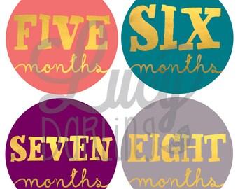Baby Girl Monthly Stickers - Jewel - Metallic Gold Monthly Baby Stickers - Milestone Stickers - Set of 12