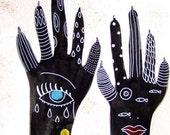 Claws Hands Ink Acrylic Paint Hands Art Hands Decor Contemporary Art Black Blue Yellow Hands Wall Art Hands Fine Art Strange Art Ink