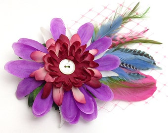 Feather Floral Pink Fascinator  Floral Antique Button hair clip