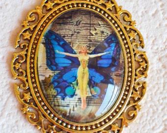 Butterfly Fairy Pendant in Brass Setting