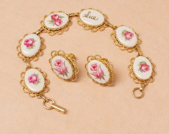 Vintage Ceramic Gold Tone and Rose Bracelet with Name Sue