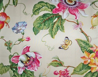 BRUNSCHWIG FILS PARFUM D Ete Birds Toile Fabric 10 yards Rose Yellow Multi