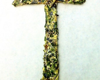 handmade original wood and plaster cross, large painted wall sculpture, abstract wall collage, light greens, moss, golds