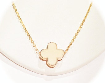 Peach Modern Clover Necklace on Gold Chain