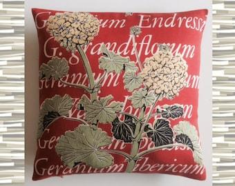 """Pillow Geranium Orange Red Yellow Green Botanical Vintage 16"""" Square"""