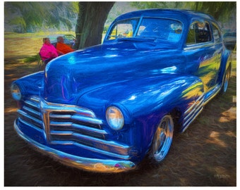 Old Blue Forties Car - Classic Chevy Fleetline - 8x10 and 16x20 Glicee Print from original art -  Korpita ebsq