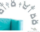 Wall Decals for Baby Nursery & Kids Decor - Happy Monsters Collection - Gray - Great Newborn Gift