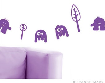 Wall Decals for Baby Nursery & Kids Decor - Happy Monsters Collection - Purple - Great Newborn Gift