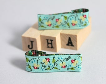 Children hair clip - Woven ribbon lined clips