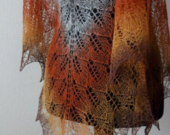 Hand knit shawl, wool shawl, brown, grey, orange, Autumn colors