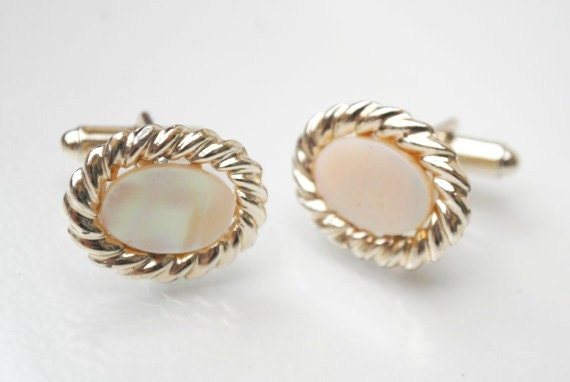 Vintage Oval gold Mother of Pearl cuff links