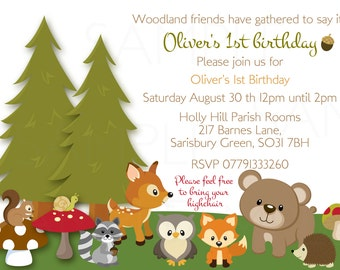 Woodland Friends Forest Animals Theme Baby Shower or Birthday - Printable File