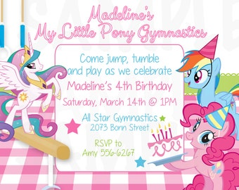 My Little Pony Inspired Gymnastic Tumbling Theme Birthday Party Invitation