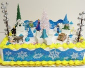 Elsa and Anna Frozen 23 Piece Birthday Cake Topper Set Arendelle - Ice Cyrstals, Snow Flake, and Backdrop along with Cake Topper Figures