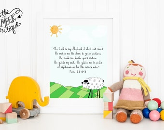 INSTANT Download, The Lord is My Shepherd, Psalm 23, Digital Art Printable, No. 85