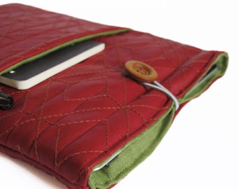 red faux leather iPad sleeve cover for tablet case bag padded handmade