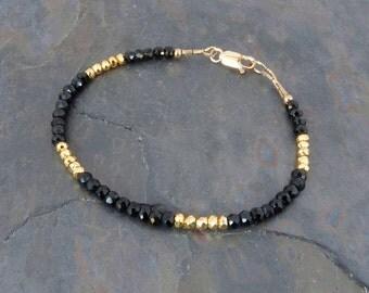 Faceted Black Spinel Gemstone & Gold Pyrite Bracelet w 14K Gold, Handmade Slim Luxe Stackable Bracelet, Boho Bracelet, Delicate Bracelet