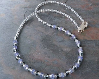 Quality Violet Tanzanite Faceted Gemstone Strand Necklace Accented with Silver Lined Czech Glass Beads, Handmade