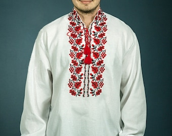 Ukrainian embroidered shirt for boys and adult men. Vyshivanka 100% linen. Mens vyshyvanka. Embroidery stitch on linen, Red Guelder Rose