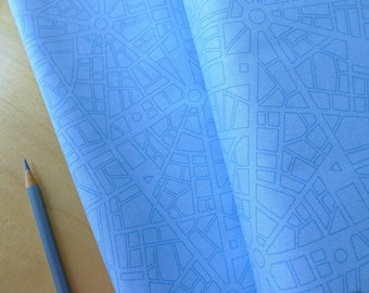 FQ City Map in Sky Blue - Barcelona - Zen Chic for Moda - (1) Fat Quarter - Modern Quilting Sewing Crafting Cotton Fabric