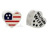 Military Wife American Flag Heart European Charm Bead For Large Hole Charm Bracelets