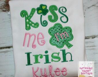 Kiss Me I'm Irish Girls Appliqué St. Patty's Day Monogram Shirt