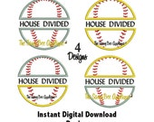 DD Baseball & Softball HOUSE DIVIDED 5x7 Applique - Machine Embroidery Design - 4 Designs - Instant Download
