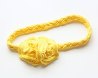 Braided Jersey Knit Flower Headband - Sunshine Yellow or Customize Your Colors