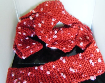 Extra Long Scarf Red With White Spots