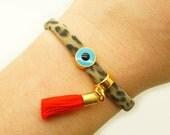Leopard Turquoise Evil Eye & Red Tassel Bracelet  - Wrap Tassel Skull Mati Bracelet - Nautical Circle T-shirt Yarn Statement