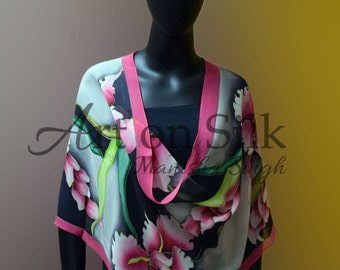 Hand Painted Silk Scarf- Orchid on Silk