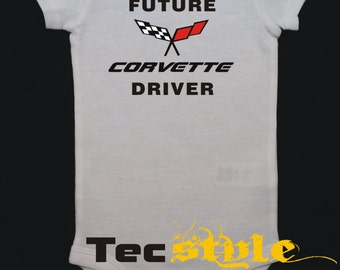 Future Corvette Driver Onesie, Boy or Girl Body Suit, One Piece
