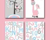 Baby Girl Nursery Art Print Nursery Print Kids Art Kids Wall Art Kids Rooom Decor Children Art Giraffe Alphabet Nursery Pink set of 4 8x10