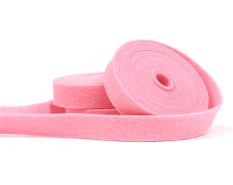 Wool Felt - 100 Percent Wool Felt Ribbon in color NEON PINK - 1/2 Inch X 2 Yards -  Merino Wool Felt - Pink Ribbon - Neon Pink Ribbon