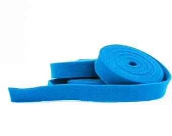 100 Percent Wool Felt Ribbon in color AZURE - 1/2 Inch X 2 Yards - Merino Wool Felt - Blue Ribbon - Azure Ribbon