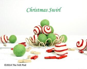Wool Felt Balls // Christmas Decoration // diy Garland // diy Mobile // Wool Beads // CHRISTMAS SWIRL SET // 2.5 cm // 20 Count