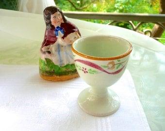 Antique Eggcup - Hand Painted English Egg Cup - Adams Pedestal Egg Cup - Yellow Rim Porcelain - Pale Green Antique Eggcup